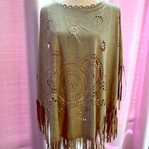 Taupe Suede Poncho